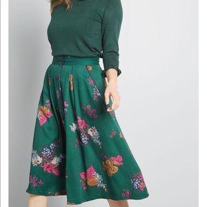 ModCloth Green Floral Midi Skirt